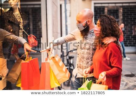 karácsony · vásárlás · kettő · fiatal · nők · pihen · kávézó - stock fotó © OliaNikolina
