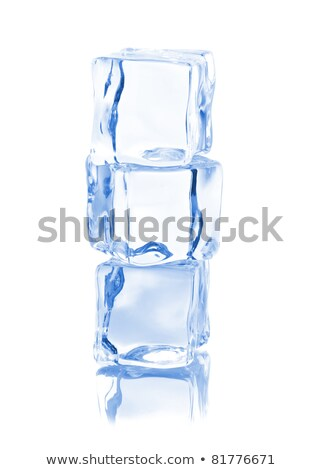 stack of three blue ice cubes with copyspace stock photo © shawnhempel