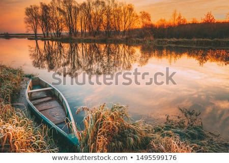 kürek · çekme · tekne · deniz · eski · beyaz · mavi - stok fotoğraf © olandsfokus