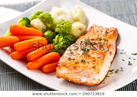 salmão · cozinhar · almoço · dieta · frutos · do · mar · delicioso - foto stock © fanfo