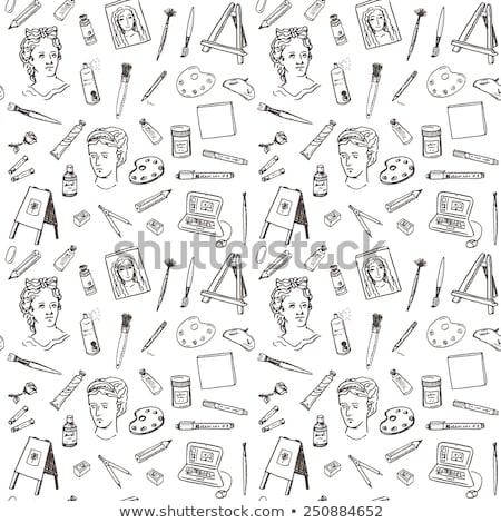sztaluga · pędzlem · ikona · kredy - zdjęcia stock © rastudio