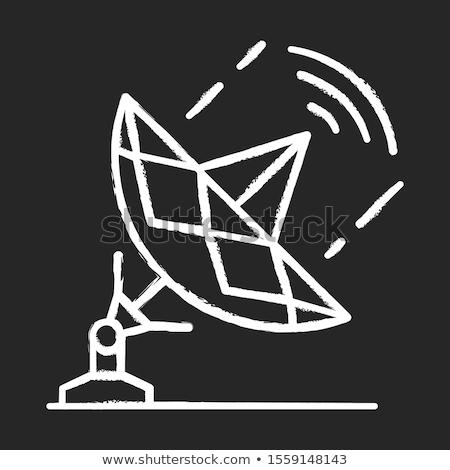 衛星 · アイコン · チョーク · 手描き · 黒板 - ストックフォト © rastudio