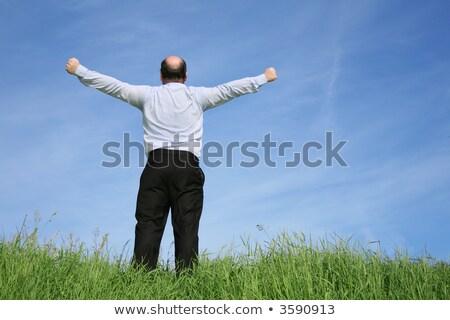 太った男 · 草原 · 空 · 草 · 男 · 幸せ - ストックフォト © paha_l