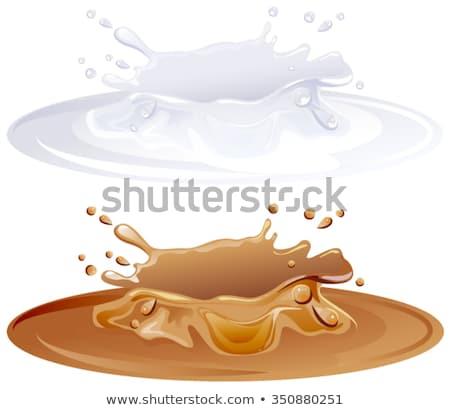 Hot caramel puddle. White milk splashes Stock photo © orensila