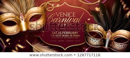 Maschera veneziana bella maschera musica carta blu Foto d'archivio © kalozzolak