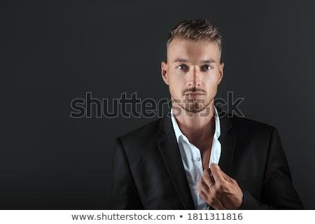 aantrekkelijk · mannelijk · model · zwart · pak · poseren · portret - stockfoto © feedough