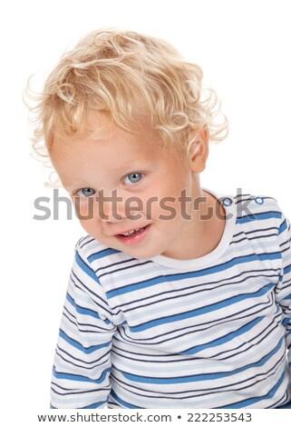 Blanche cheveux bouclés yeux bleus bébé isolé enfant Photo stock © karandaev