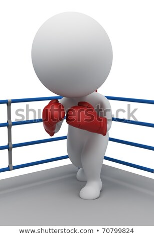 3d small people   boxer on a ring stock photo © anatolym