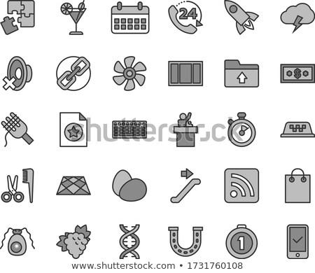 24 · fodrász · ikon · szett · ikonok · fekete · szín - stock fotó © angelp