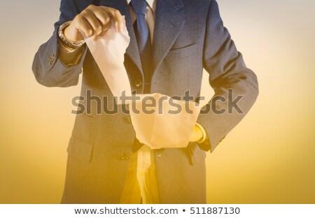 Stock fotó: Businessman Tear Blank Paper