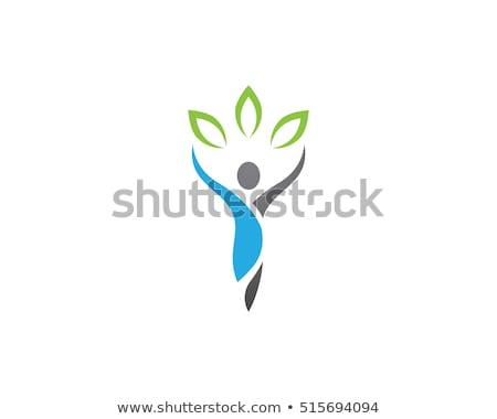 Zdrowych logo szablon człowiek sportu liści Zdjęcia stock © Ggs