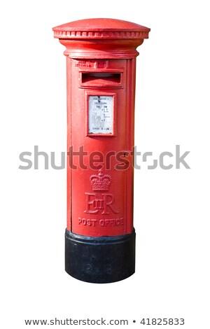 Rojo post cuadro buzón blanco pared Foto stock © Digifoodstock