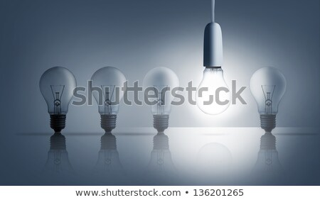 Stock photo: Five hanging light bulbs in a row