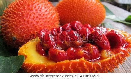 baba · fából · készült · fehér · egészség · gyümölcs · piros - stock fotó © Bigbubblebee99