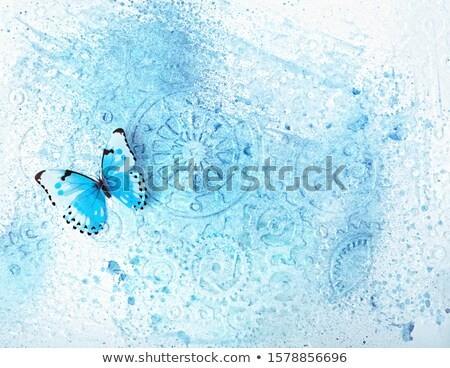clock with blue butterfly wings Stock photo © blackmoon979