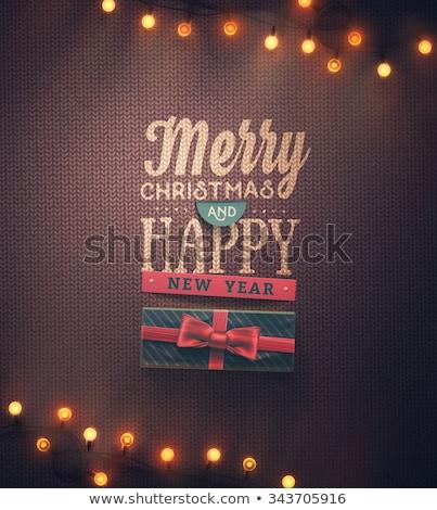 karácsony · vektor · kártya · hagyományos · kötött · minta - stock fotó © carodi