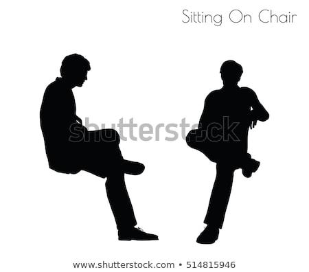 erkek · siluet · oturma · poz · eps · 10 - stok fotoğraf © istanbul2009