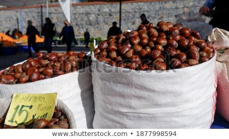 Gesztenye bazár textúra gyümölcs háttér piac Stock fotó © zurijeta