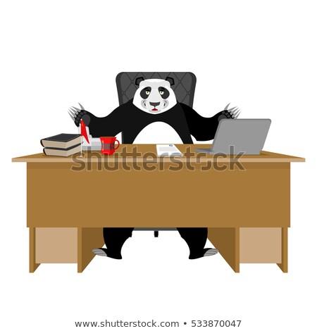 Sevimli panda karikatür oturma sandalye okul Stok fotoğraf © jawa123