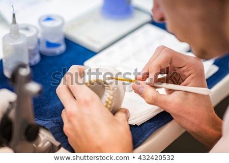 dentales · técnico · de · trabajo · laboratorio · mano · pintura - foto stock © mady70
