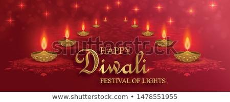 happy diwali festival greeting design with diya and fireworks Stock photo © SArts