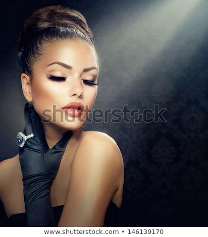 beautiful glamour woman with black gloves Stock photo © zdenkam