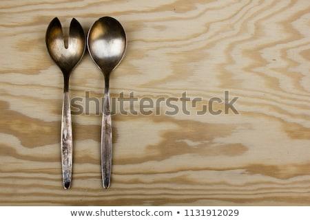 cuchara · de · madera · metal · tenedor · blanco - foto stock © digifoodstock