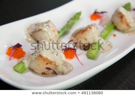 Seared Scallops with Cava Cream and Herb Sauce Stock photo © monkey_business