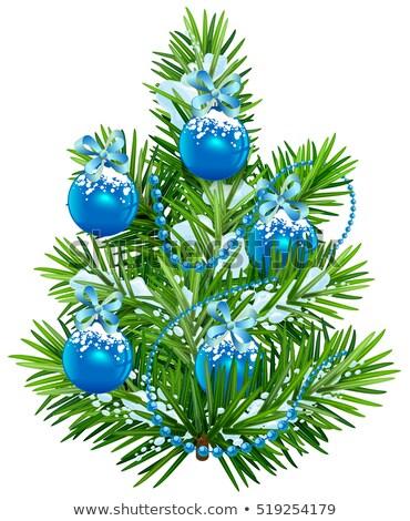 Kicsi karácsonyfa kék golyók girland izolált Stock fotó © orensila