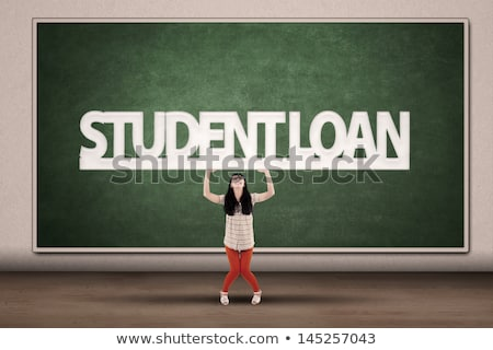Woman holding sign of student loan. Stock photo © RAStudio
