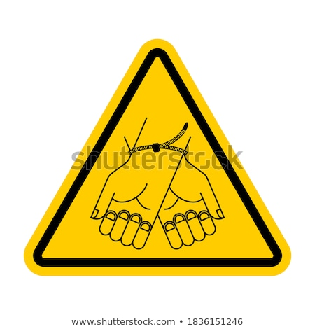 attention man male sign on yellow triangle road sign caution stock photo © popaukropa