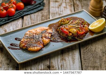 焼き 鮭 スライス レモン 白 木製 ストックフォト © Yatsenko