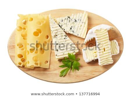 Ovaal houten kaas boord witte Stockfoto © Digifoodstock