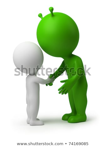 3d small people   hand shake of the alien stock photo © anatolym