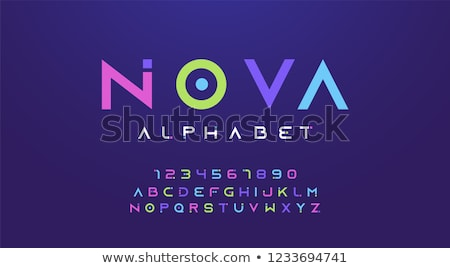 Stock photo: Polygon Alphabet and Numbers
