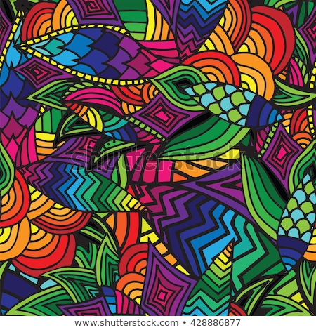 vector cartoon seamless pattern with tribal elements stock photo © balabolka