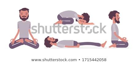 Vector flat style illustration of bearded man doing yoga. Stock photo © curiosity