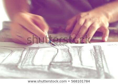 Férfi illustrator rajz művész ceruzák szelektív fókusz Stock fotó © stevanovicigor