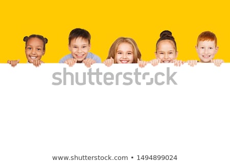 Paper background with happy children Stock photo © bluering