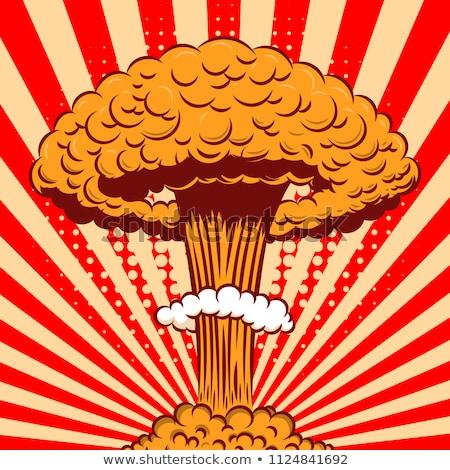 Nuclear explosão desenho animado retro cartaz cogumelo Foto stock © Leo_Edition