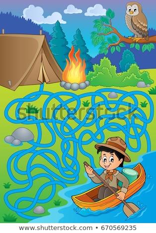 Labirintus víz felderítő fiú sport művészet Stock fotó © clairev