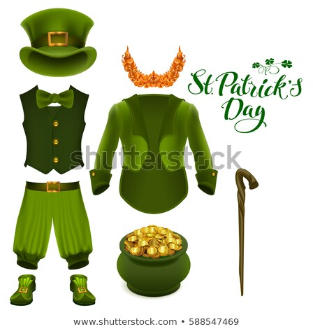 set of accessories for st patricks day green suit hat pot of gold red beard boots pants clov stock photo © orensila