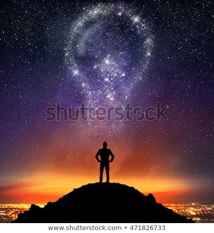 Uomo grande lampadina sopra testa rendering 3d Foto d'archivio © orla