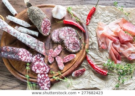 французский · высушите · колбаса · продовольствие · белом · фоне - Сток-фото © digifoodstock