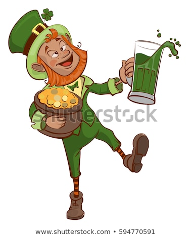 Stockfoto: Drunk Fun Patrick Holds Pot Of Gold And Glass Of Green Beer