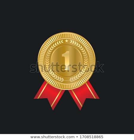 Gold 1st Place Medal Vector. Metal Realistic Badge With First Placement Achievement. Round Label Wit Stock photo © pikepicture