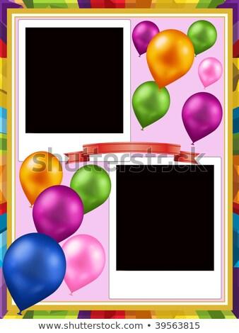 Preto e branco photo frame colorido balões isolado branco Foto stock © robuart