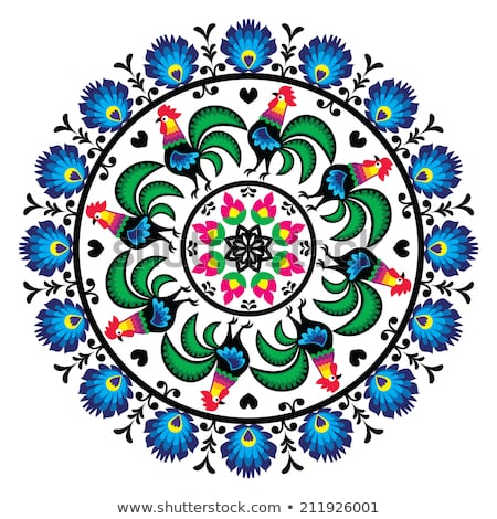 Polish vector folk art floral round embroidery with roosters, traditional pattern - Wycinanki Lowick Stock photo © RedKoala