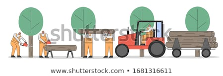 Stock photo: Huge lumberjack and stump in flat style, vector