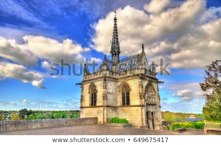 Capela la céu cidade igreja azul Foto stock © benkrut